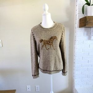 Christopher & Banks Whimsical Horse Sweater, Large
